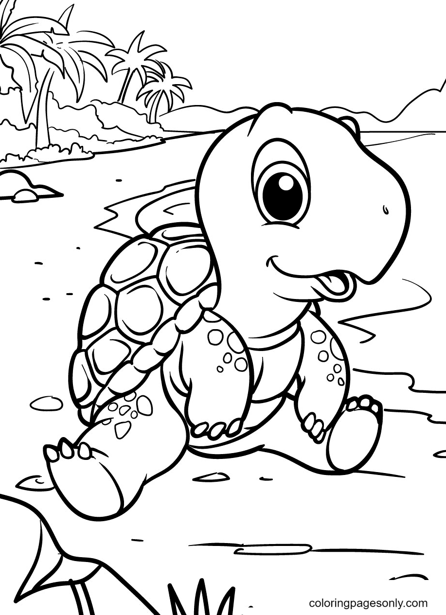 Turtle Sitting on a Tropical Island Coloring Page