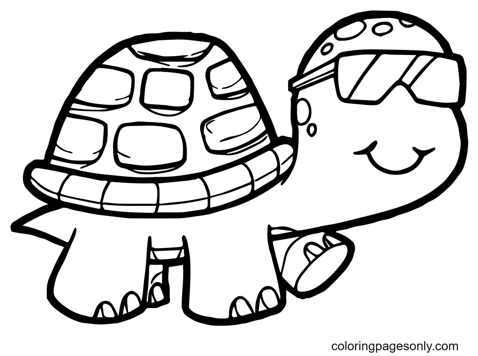Turtle Wears Glasses Coloring Page