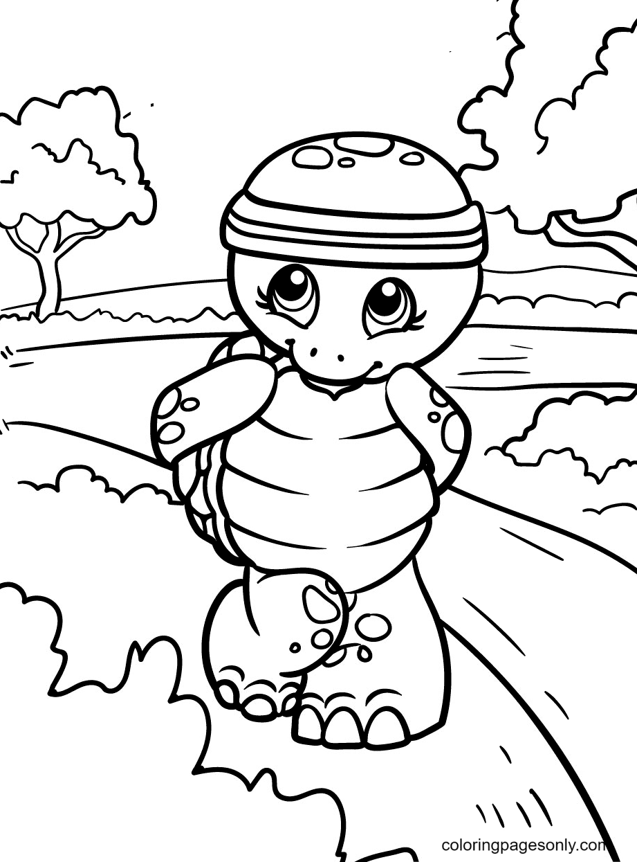 Turtle Wears a Training Headband Coloring Page