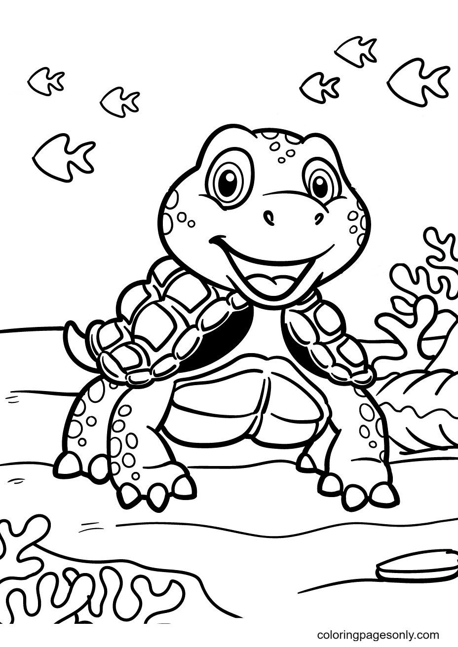 Turtle in the Ocean With Coral Coloring Page