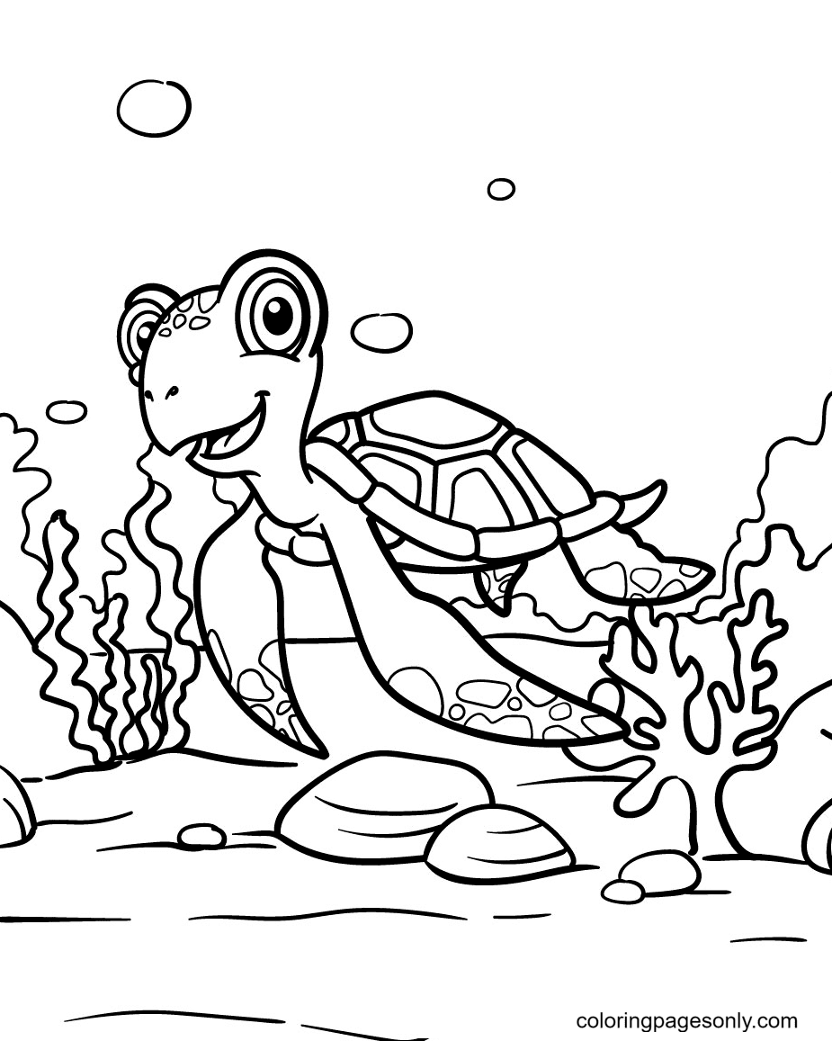 Turtle is Flying in The Ocean Coloring Page