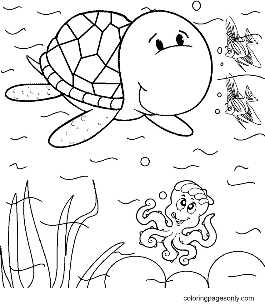Turtle with Fish and Octopus Coloring Page