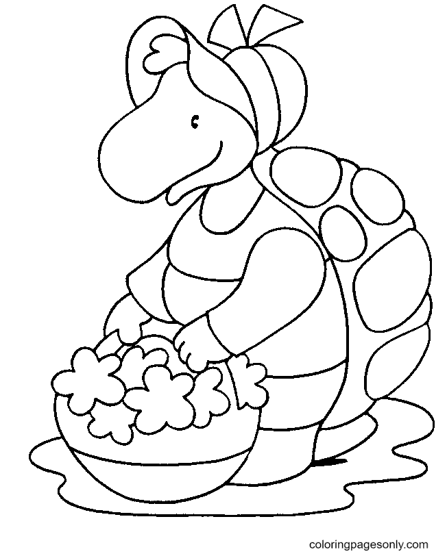 Turtle with Flower Basket Coloring Page