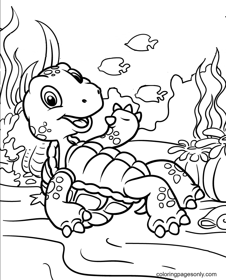 Turtles On the Bottom of the Ocean Coloring Page