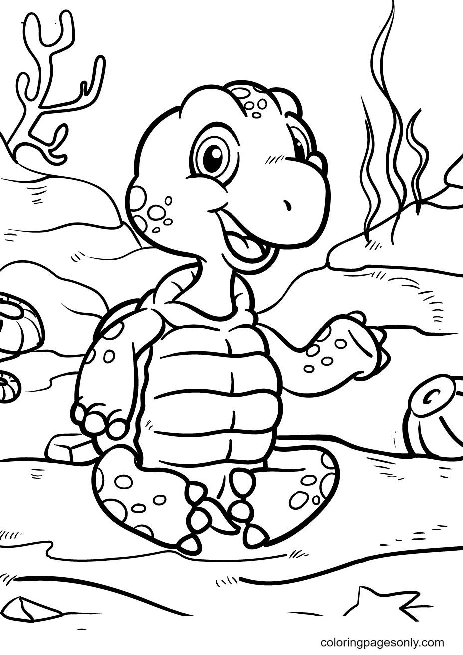 Turtles Playing At The Bottom Of the Ocean Coloring Page
