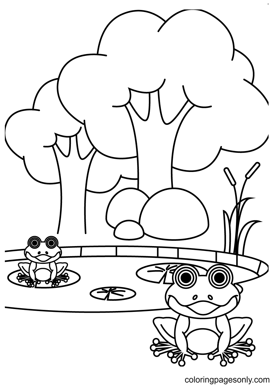Two Cute Frogs Relaxing On a Pond Coloring Page