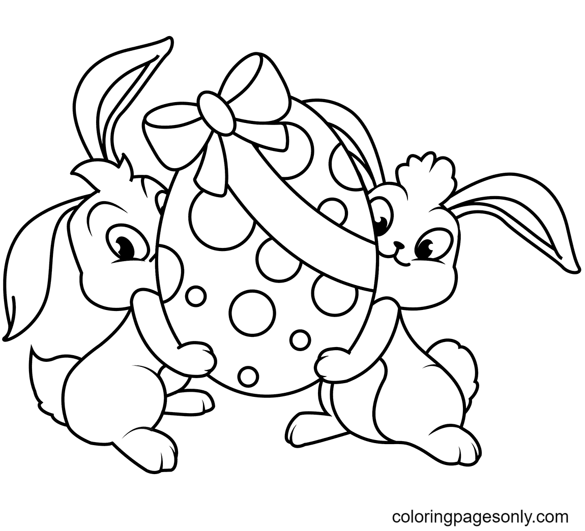 Two Easter Bunnies with Egg Coloring Page