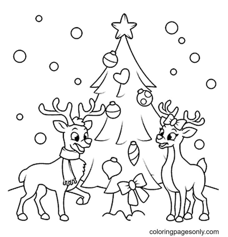 Two Pretty Reindeers Coloring Page