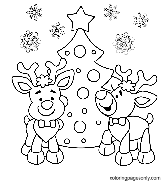 Two Reindeers And Christmas Tree Coloring Page