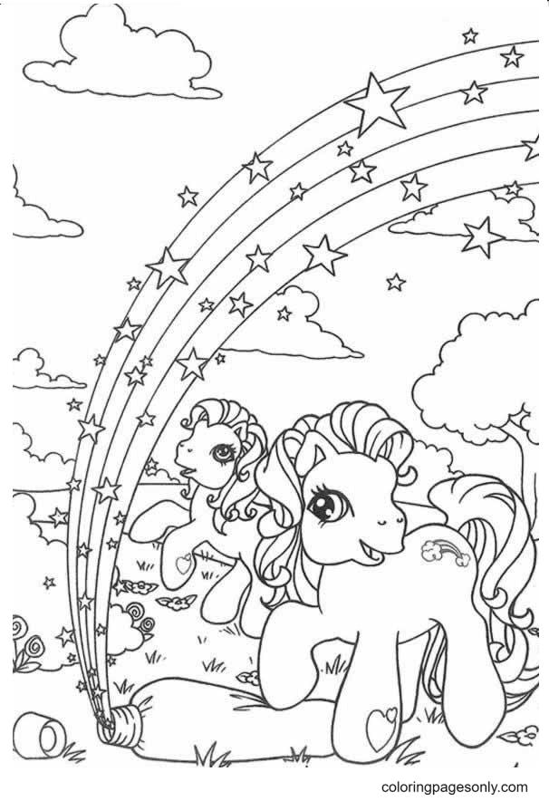 Unicorn Rainbow Coloring Page