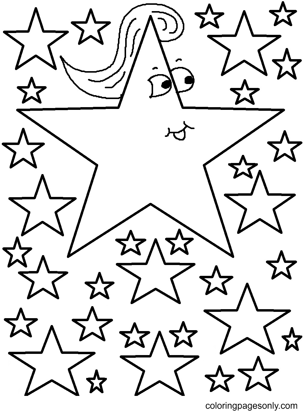 Unique Star Coloring Page