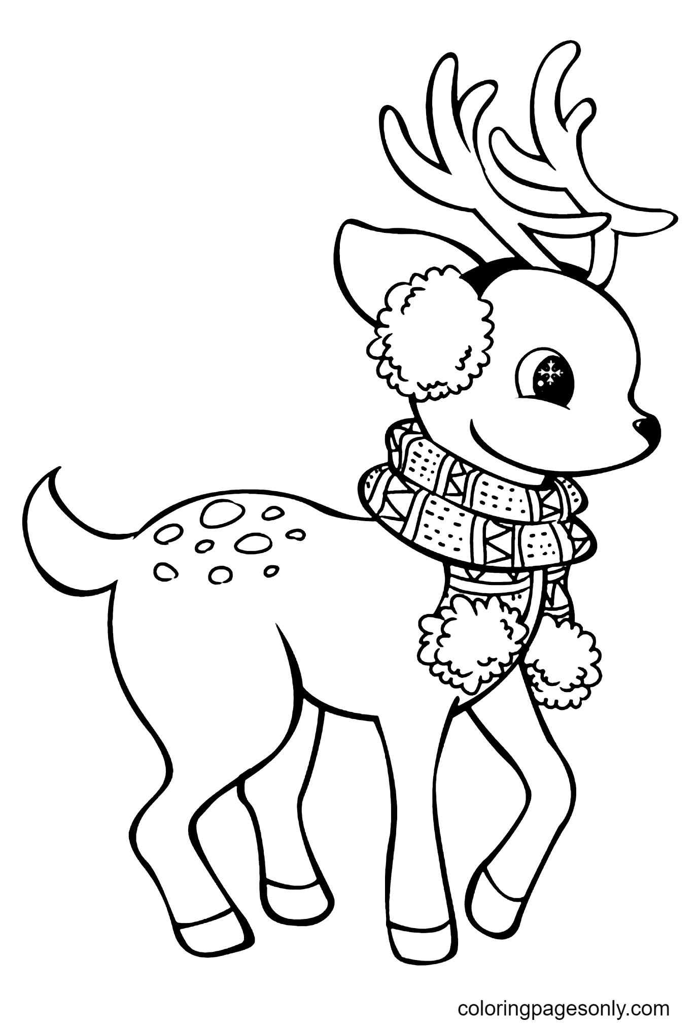 Warm Baby Reindeer Coloring Page