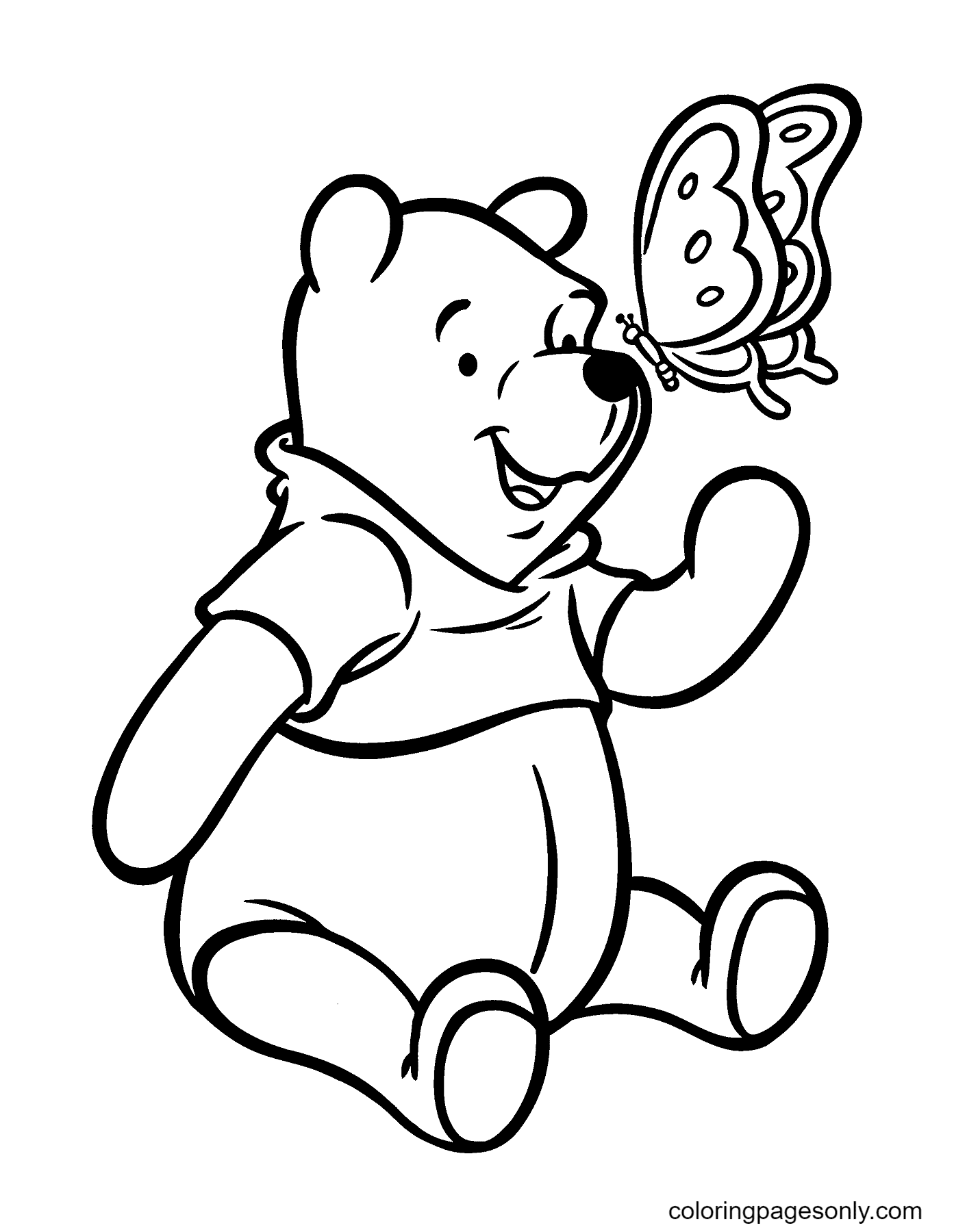 Winnie Playing with Butterfly Coloring Page