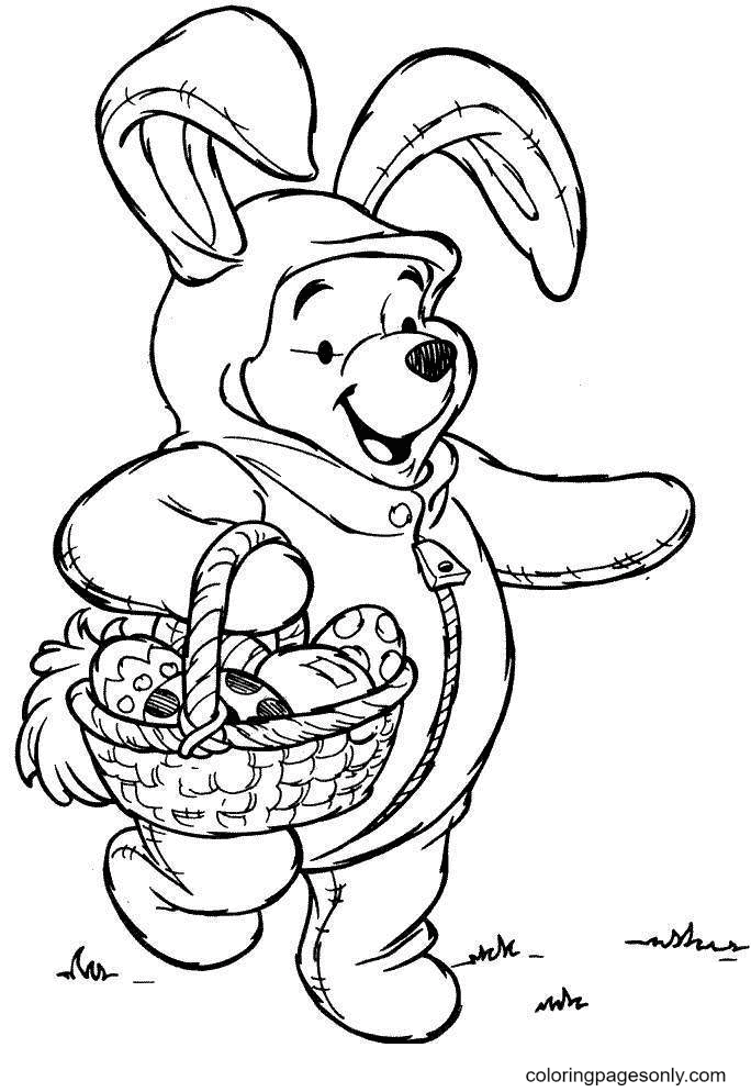 Winnie Pooh with Easter Basket Coloring Page