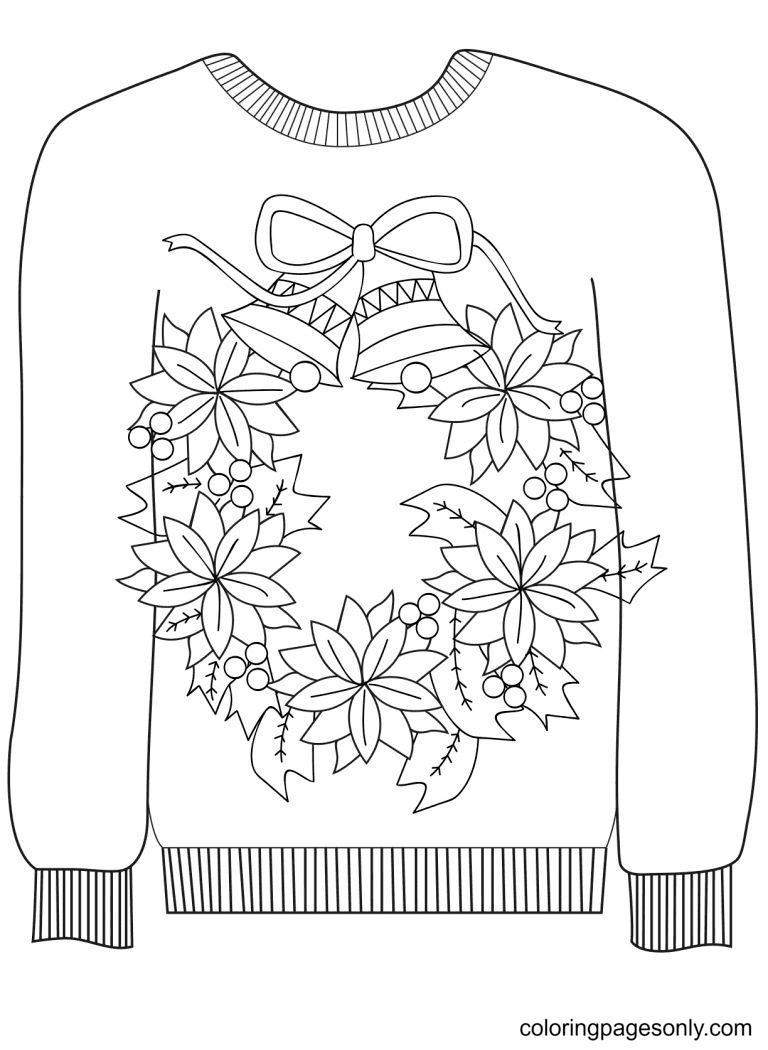Wreath Sweater Coloring Page