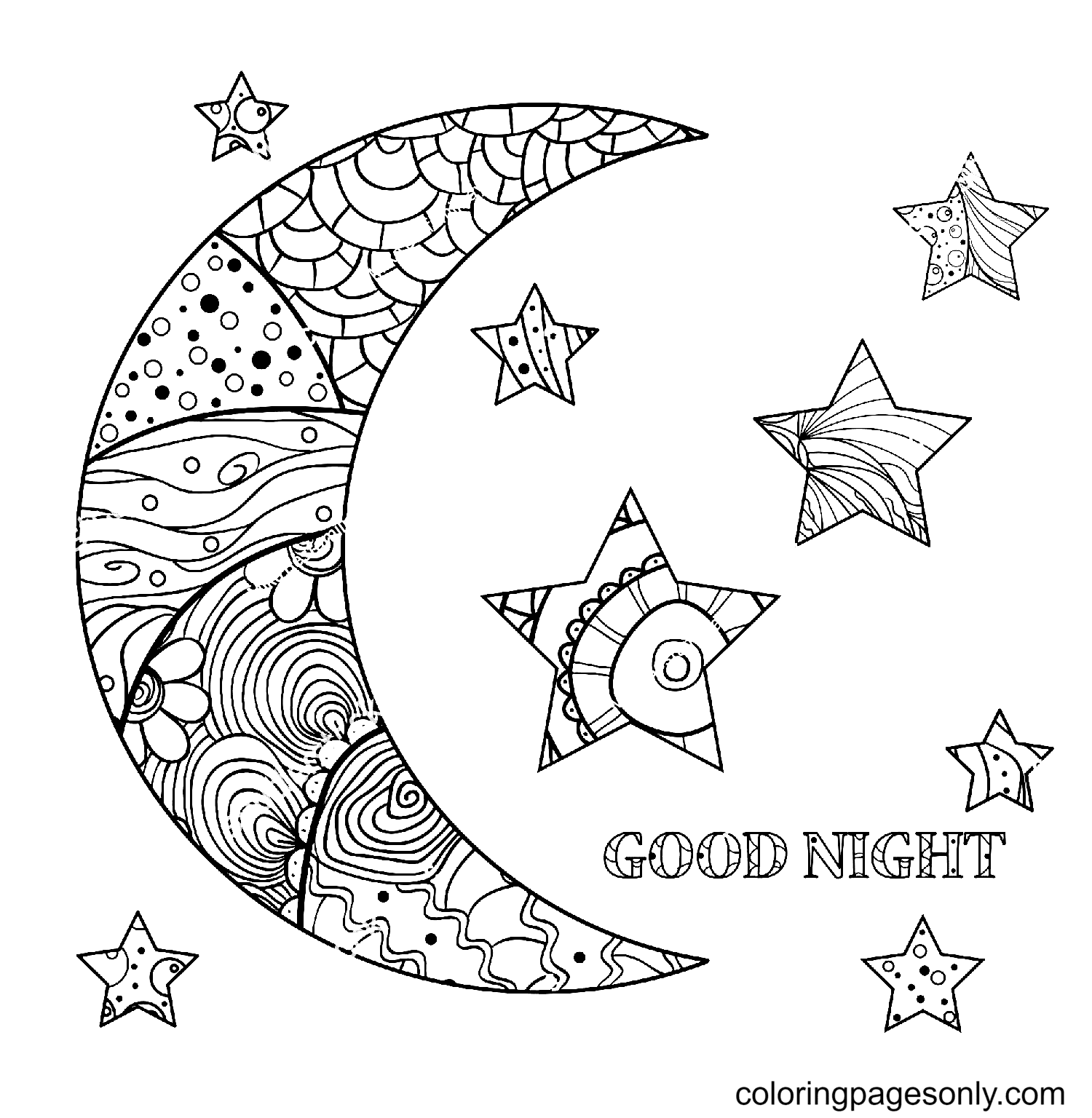 Zentangle Moon and Star Coloring Page